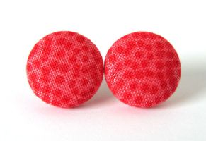 Button earrings studs red carmine dots bright by KooKooCraft