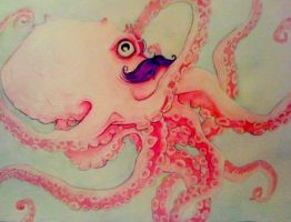 Octopus with a mustache by VoodooDollyArtwork