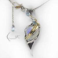 LUXIMIRH -18Ct Yellow gold, silver,moonstone,topaz by LUNARIEEN
