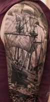 Tall Ships Skull Tattoo Black And Grey by Remistattoo