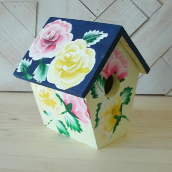 Pink and Yellow Rose Birdhouse by sweetpie2