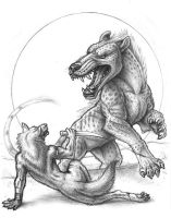 Andrewsarchus and Wolfguy by synnabar