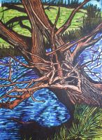 Tree and River Drawing by DustyPaintbrush