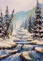 ACEO Winter Waterfall by annieoakley64