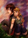 Hiccup and Astrid color by 44lol