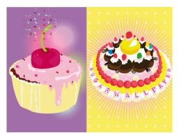 cakes and candy cards by Frenchieslitchies