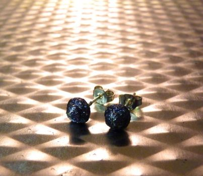 Black Sparkly Stud Earrings by Divulged