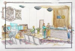 Contemporary Bank Interior Design in Watercolor by sabrelupe