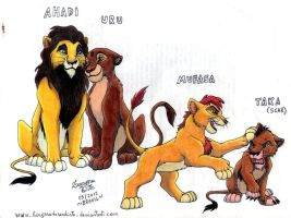 Ahadi, Uru, Mufasa and Taka by laryssadesenhista