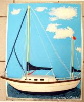 Sail boat Cake by ginas-cakes