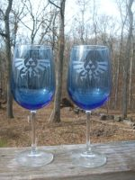 ZELDA Wine Glasses Blue Tint by ZombieBunnySlaya