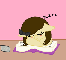 Me Sleeping While Trying To Study by nyan-cat-luver2000