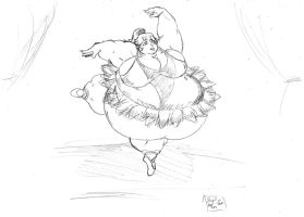 Fat Peach Ballet Dancer by dwarfpriest
