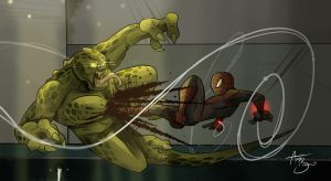Spider-man Vs. the Lizard by RhythmAx