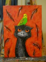 Emu and Budgie WIP 2 by NeroUrsus