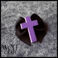WOLF CRAFT Crucifix and Bow Brooch in Black by SugarAndSpiceDIY