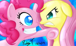 Pinkie VS Fluttershy by paulyt7
