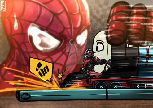 Ant-man vs Spiderman by PANMANstudio