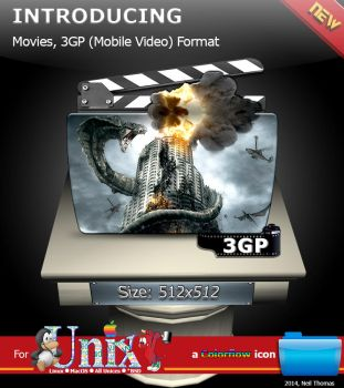 Movies, 3GP Video format folder icon (ColorFlow) by nt291263