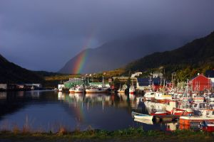 Rainbow above the harbour by steinliland