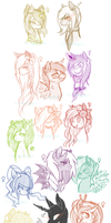 All Pony Characters Sketch Compilation by Tea-Adoptables