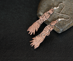 Flying Raven Etched Copper Earrings by Gardi89