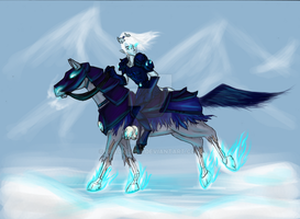 Asrada on her mount by Blackbiene