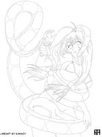 Ryuubi and Kaa Lineart by TeeBreakers