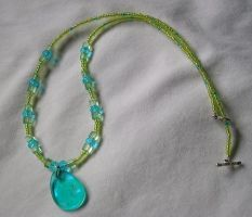 Blue and Lime Green Necklace by FuzzyViper