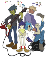 Gorillaz WIP -Flat colors- by Radio-Active-Muffin