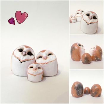 Cuddling owl family- SOLD by MyselfMasked