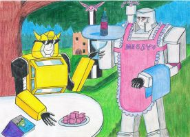 Bumblebee and Megatron by sunbeamattack