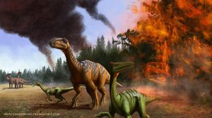 Dinosaurs running from fire by vandervals