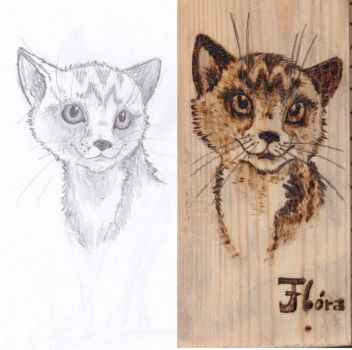 Cat with pencil and wood burning iron by CreeperTheFerret