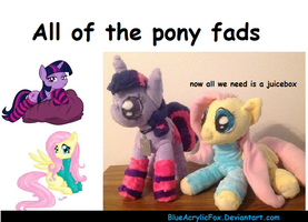 Pony fad plushies (twi w/socks shy w/sweater) by BlueAcrylicFox