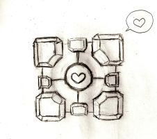 Companion Cube Love by hellopotatoes