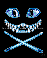 Cheshire Cat Grin and Drumsticks by ArtbyMaryC