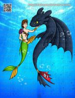 Hiccup Merman and Toothless by Richmen