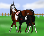 Mare And Foal by fionafox1234