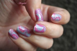 Nail Art Water Marble Blue and Pink by Angelik23