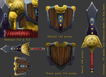 Hand-painted texture sword and shield by Mad-Owl