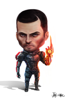 Mass Effect Commander John Shepard Chibi by We-Chibi