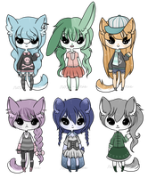 Adopt Set 15 - Anthros - CLOSED by rosie-wosie