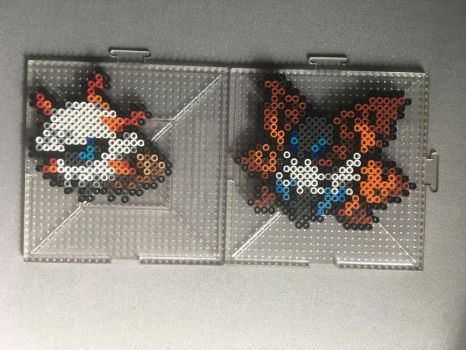 #636-#637 Larvesta and Volcarona Perlers by TehMorrison