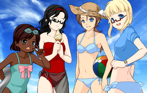 Beach with the Girls~ by Oculus-Prime