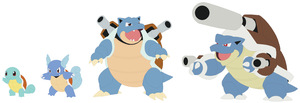 Squirtle, Wartortle, Blastoise and Mega Base by SelenaEde