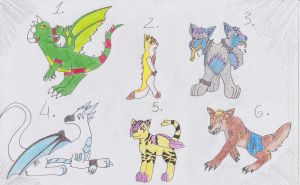 Mixed ADOPTABLES: OPEN by Foxfish