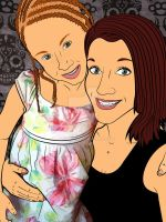 Lineart of Sabrina Sempf and her daughter Auri by Lewiscdl