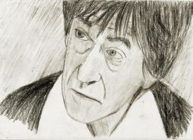 Patrick Troughton Doctor Who charcoal portrait by manofallart