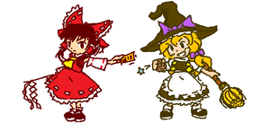 MSpaint Reimu and Marisa by L3PiK